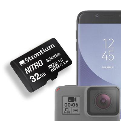 Strontium Nitro 32GB Micro SDHC UHS-I U1 Class 10 Memory Card 85MBps