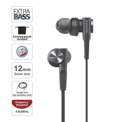 Sony XB55AP Wired Headset with Mic (Black, In the Ear)