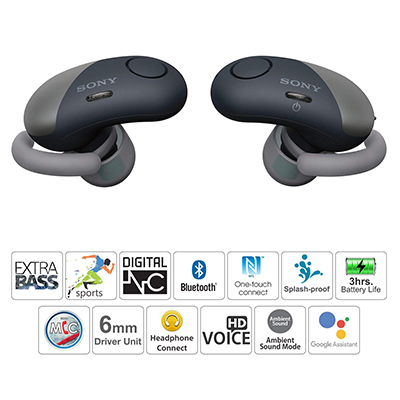 Sony WF-SP700N True Wireless Bluetooth Headset with Mic (Black, In the Ear)