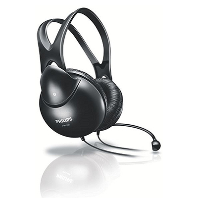 Philips SHM1900/93 Wired Headset with Mic (Black, Over the Ear)