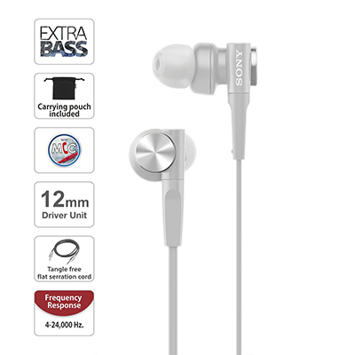 Sony XB55AP Wired Headset with Mic (Grayish White, In the Ear)