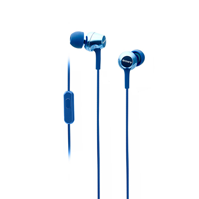 Sony EX255AP Wired Headset with Mic (Blue, In the Ear)