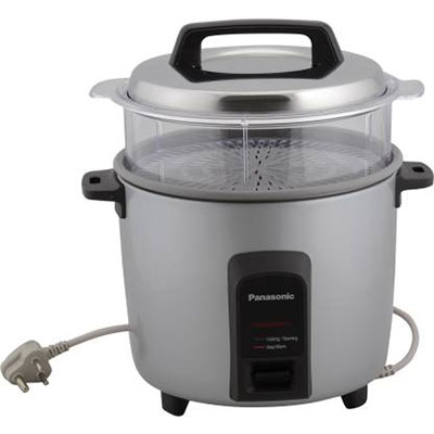 Panasonic SR-Y22FHS Electric Rice Cooker with Steaming Feature (5.4 L, Silver)