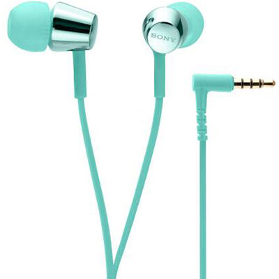 Sony MDR-EX155AP Wired Headset with Mic (Light Blue, In the Ear)