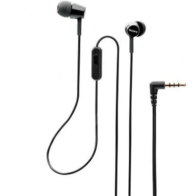 Sony MDR-EX155AP Wired Headset with Mic (Black, In the Ear)