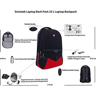 Swisstek BP-020 Laptop Back Pack Black Red-3