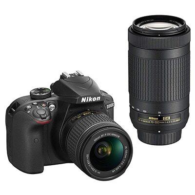 Nikon D3400 Digital Camera Kit (Black) with Lens AF-P DX Nikkor 18-55mm, 70-300mm