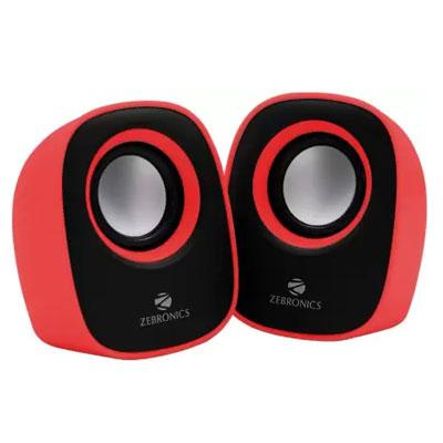 Zebronics ZEB - PEBBLE NEW Laptop/Desktop Speaker (Red, 2.0 Channel)