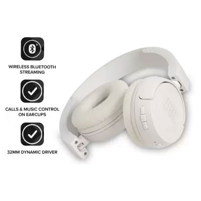 JBL T450BT Extra Bass Bluetooth Headset with Mic (White, On the Ear)