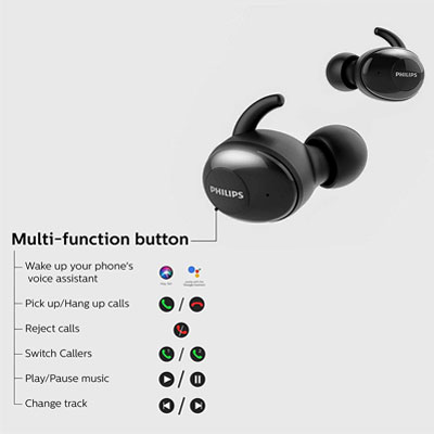 Philips UpBeat SHB2505 Bluetooth True Wireless Earbuds Headphones
