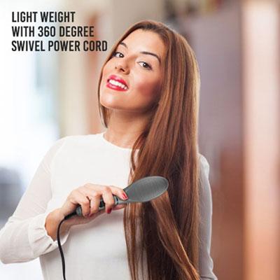 Syska HBS100i Corded Hair Straightener Brush (Grey)