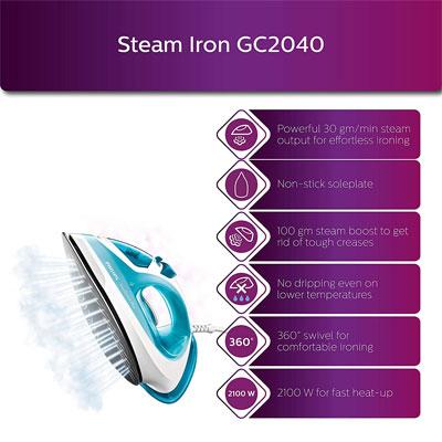 Philips EasySpeed Plus GC2040 2100-Watt With Indicator Light Steam Iron