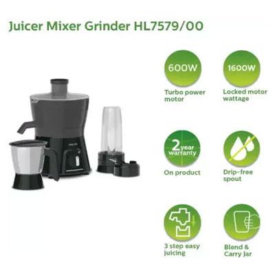 Philips AVENGER HL7579 600W Turbo Juicer Mixer Grinder (Black, 2 Jars)