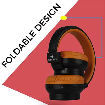 Zebronics ZEB-BANG Over-Ear Bluetooth Headset Orange