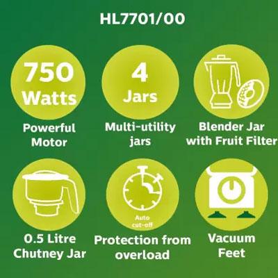 Philips Viva Collection HL7701/00 750-Watt Mixer Grinder with 4 Jars