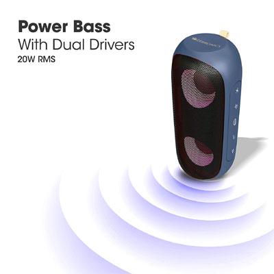 Zebronics Zeb-Music Bomb X Wireless 20W Portable Speaker (Blue)