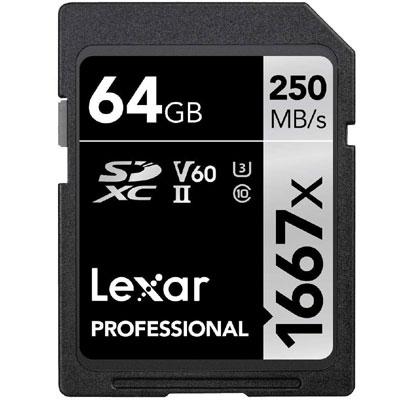 Lexar Professional 1667x 64GB SDXC UHS-II/U3 Card (LSD64GCBNA1667)