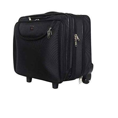 Swisstek Black 15 inch Trolley Laptop Bag with 2 Wheels (LTB011)