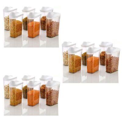 Solomon Premium Quality Easy Flow 1500ML Plastic Tea Coffee & Sugar Container PACK OF 18 (WHITE)