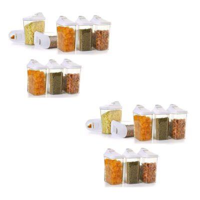 Solomon Premium Quality Easy Flow 1100ML Plastic Tea Coffee & Sugar Container PACK OF 18 (WHITE)