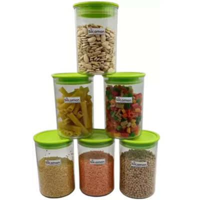 SOLOMON PREMIUM QUALITY 900ML ROUND AIRTIGHT CONTAINER PACK OF 6 (GREEN)