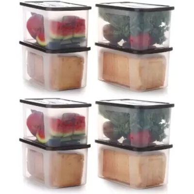 Solomon 2000ML PACK OF 8 BIG BRED Plastic Grocery Container (BROWN)
