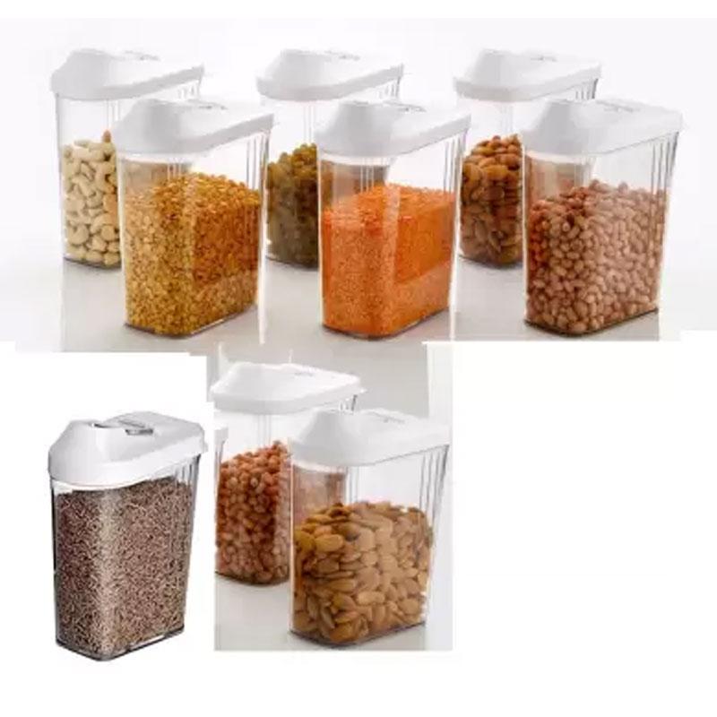 Solomon Premium Quality Easy Flow 1500ML Plastic Tea Coffee & Sugar Container PACK OF 9 (WHITE)