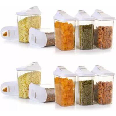 Solomon Premium Quality Easy Flow 1100ML Plastic Tea Coffee & Sugar Container PACK OF 12 (WHITE)