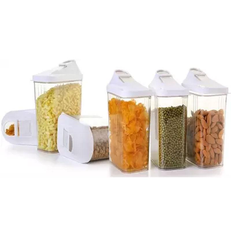 Solomon Premium Quality Easy Flow 1100ML Plastic Tea Coffee & Sugar Container PACK OF 6 (WHITE)