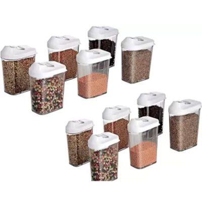 Solomon Premium Quality Easy Flow 750ML Plastic Tea Coffee & Sugar Container PACK OF 12 (WHITE)