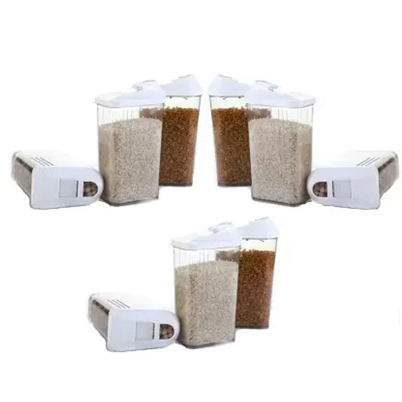 Solomon Premium Quality Easy Flow 750ML Plastic Tea Coffee & Sugar Container PACK OF 9 (WHITE)