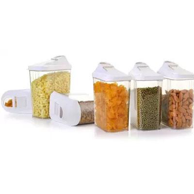 Solomon Premium Quality Easy Flow 750 ml Plastic Tea Coffee & Sugar Container PACK OF 6 (WHITE)