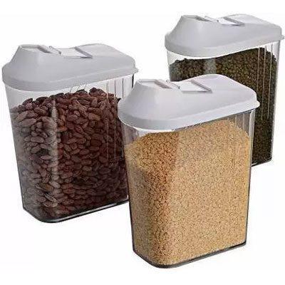 Solomon Premium Quality Easy Flow 1100ML Plastic Tea Coffee & Sugar Container PACK OF 3 (WHITE)