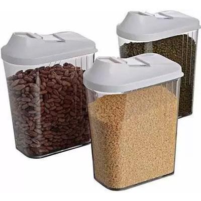 Solomon Premium Quality Easy Flow 750ML Plastic Tea Coffee & Sugar Container PACK OF 3 (WHITE)