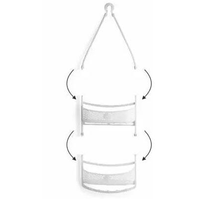 Solomon Shower Caddy 2 LAYER Plastic HANGING Wall Shelf WHITE