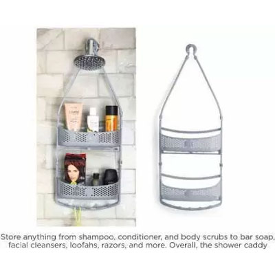 Solomon Shower Caddy 2 LAYER Plastic HANGING Wall Shelf GREY