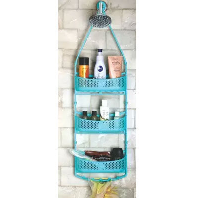 Solomon Shower Caddy 3 LAYER Plastic HANGING Wall Shelf (BLUE)
