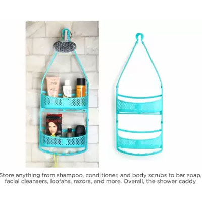 Solomon Shower Caddy 2 LAYER Plastic HANGING Wall Shelf (BLUE)