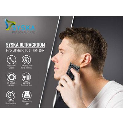 Syska HT4500K Runtime: 60 min Trimmer for Men (Black)