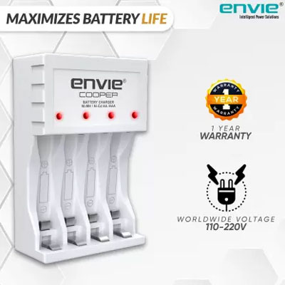 Envie Ultra Fast Charger ECR 20 MC | For AA & AAA Ni-mh Rechargeable Batteries | With LED Indicator