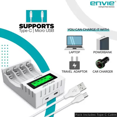 ENVIE Ultra Fast Charger ECR 11 MC   For AA & AAA Ni-mh Rechargeable Batteries   With LCD Display   2000MA output current  Compatible with Power Banks   Car Charger   Laptop   Travel Adapter (White)