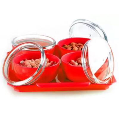 Solomon Bowl, Tray Serving Set of 5 RED