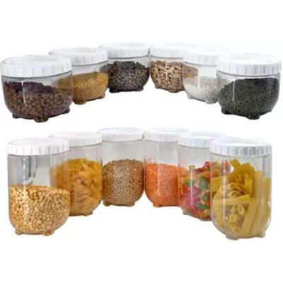 Solomon Premium Quality Interlock Container 700 ml & 1400 ml white Pack of 12