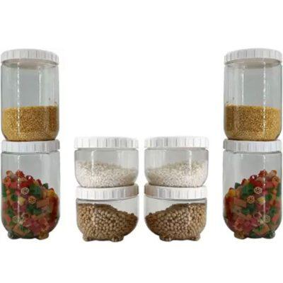 Solomon Premium Quality Interlock Container 700 ml & 1400 ml white Pack of 8