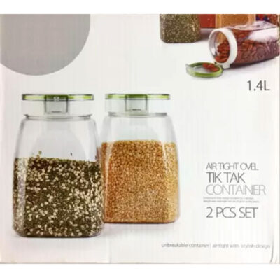 SOLOMON PREMIUM QUALITY 1400ML TIK TAK OVAL CONTAINER (GREEN+WHITE) PACK OF 2