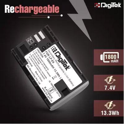 Digitek LP-E6 Rechargeable Battery for Canon DSLR Camera