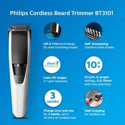 Philips BT3101/15 Runtime: 45 min Trimmer for Men (Black, White)