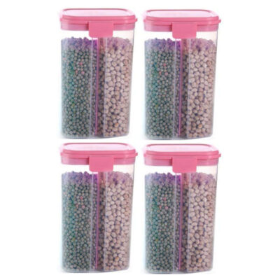 SOLOMON 2 SECTION CONTAINER 2500ML (PINK) Pack of 4