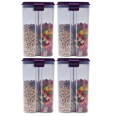 SOLOMON 2 SECTION CONTAINER 2500ML (PURPLE) Pack of 4
