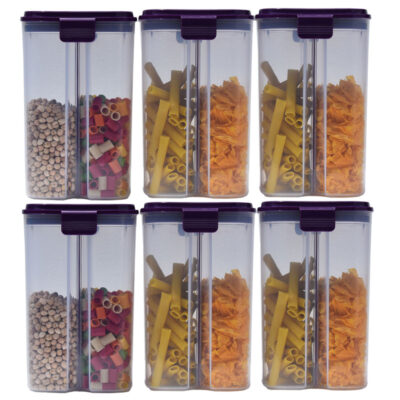 SOLOMON 2 SECTION CONTAINER 2500ML (PURPLE) Pack of 6